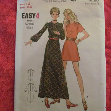 SALE 1970's Butterick Sewing Pattern, 6471! Size 12 Women's, Short and Long Dresses, Summer & Spring, Casual or Formal, Short or Long Sleeve