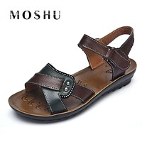 Designer Women Sandals Genuine Leather Leisure Summer Hook Loop Slippers Flat Shoes Women Zapatos Mujer