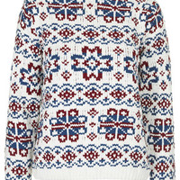 Fairisle Patterned Jumper by Boutique - White