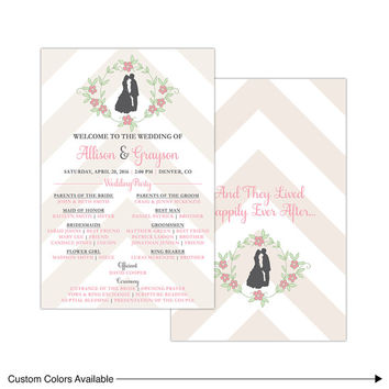 Rustic wedding programs printed or printable wedding ceremony program chevron - bride and groom silhouette - pink and champagne wedding