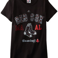 MLB Boston Red Sox Women's It All Comes Down To Crew Neck T-Shirt, Black, Large