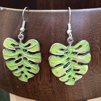 Gorgeous green banana leaf dangle earrings