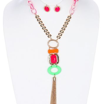 Neon Chain Tassel Pendant Necklace Set
