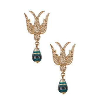 Eye Candy Los Angeles Goldtone Pave Dove Earrings