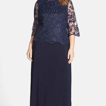Plus Size Women's Alex Evenings A-Line Gown with Lace Illusion Sleeves,