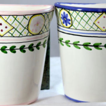 Vintage  Hand Painted Made In Portugal Faience Style Pottery Wall Pockets