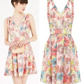 PEAPIX3 Summer Vintage Floral Print Sleeveless Hollow Out Spaghetti Strap Women's Fashion One Piece Dress [4918987716]