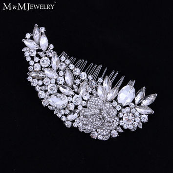Luxurious Leaf Sharp Czech Rhinestone Bridal Hair Combs Hair Accessories Wedding Hair Jewelry Wedding Accessories FS035