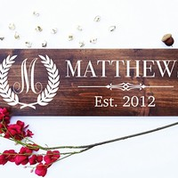 CHRISTMAS GIFT FAST SHIPPING Personalized Family Name Established Sign includes Hanging Hardware - Great Christmas, Housewarming or Wedding Gift #M01