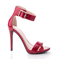 Canter by Delicious, Red Patent Delicious Women's Single Sole Ankle Strap High Heels
