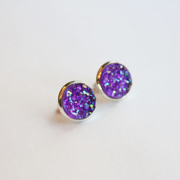 NEW - Purple Chunky Faux Druzy Glitter Earrings - Posts/Studs 12mm LARGE