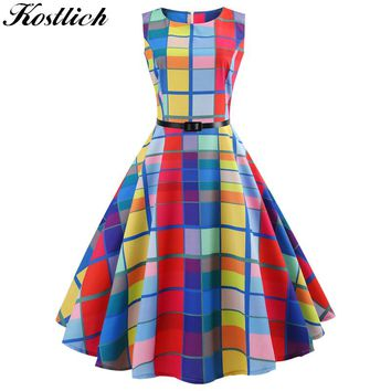Kostlich O-Neck Plaid Printed Casual Ladies Dresses Summer Hepburn Vintage Dress With Sashes Women Big Swing Dress Plus Size