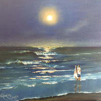 Moonlight Silent originally painted stretched canvas hand painted oil painting seascape painting wedding birthday contemporary pallet knife