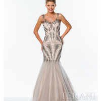 Silver & Nude Illusion Crystal Trumpet Gown
