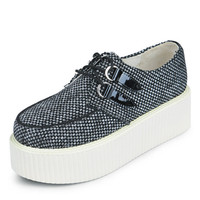 Women's Creepers Lace Up Canvas Flat Double Platform Goth Punk Casual Creepers Shoes