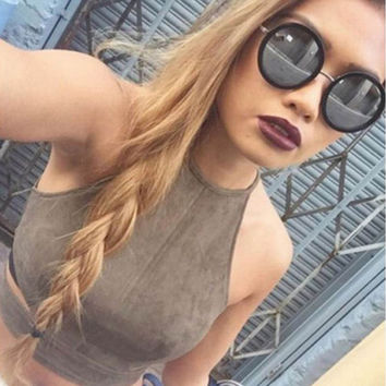 Solid Color Halter Sleeveless Shirt Women Suede Fabric Tank Top Khaki Crop Tops blusa Cropped  SN9