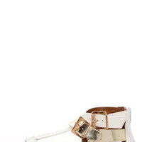 Soda Adam White Multi Metallic Buckled T-Strap Thong Sandals