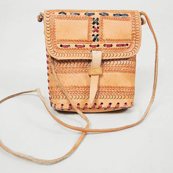 LEATHER Tooled 70's HANDMADE Small PURSE Ethnic Satchel Woven Boho Cross Body Hippie