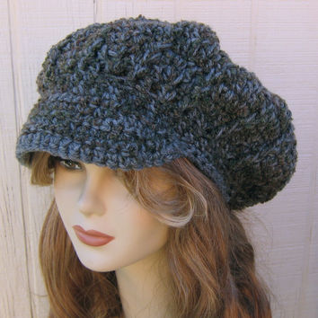 Rustic Visor Cap Tam Hat Bohemian Slouchy Beanie NEWSBOY Gray olive Boucle