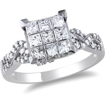 Miabella 1 Carat T.W. Princess and Round Cut-Diamond Engagement Ring in 10kt White Gold