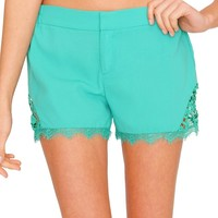 Soft Side Of Me Shorts - Green Lace