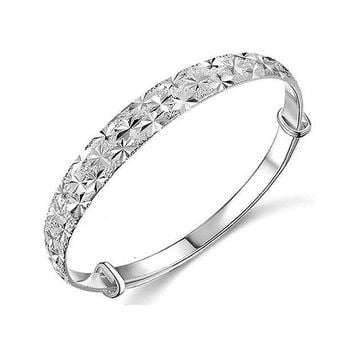 CREYXT3 Botrong Unique Design Fashion Jewelry 925 Sterling Silver Womens Charm Bangle Bracelet Gift