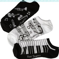 Women's Music Ankle Socks 3-Pack Size 4-10:Amazon:Clothing