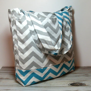 Turquoise Beach Bag - Turquoise and Gray - Chevron Style - Large Vacation Bag - Summer Tote Bag - Bridesmaid Gifts - Beach Wedding Bag