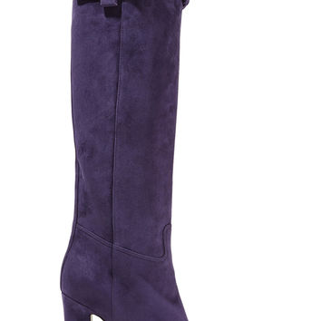 Braid-trimmed suede knee boots | Valentino | US | THE OUTNET