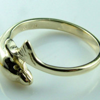 10K 14K Gorgeous Solid Gold Dolphin Ring