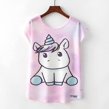 Cute Unicorn All Over Print Flowy Loose T-Shirts