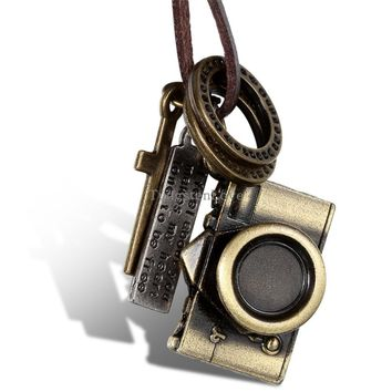 Antique Brass Color Camera Pendant With Leather Necklace Chain