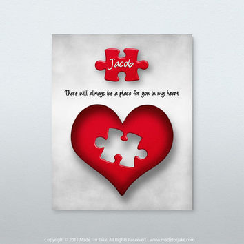 Heart puzzle nursery or child room wall art print - Personalized