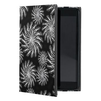Silver spinning stars on black color background iPad mini cover