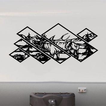 Elk Forest Mountains RV Camper 5th Wheel Motorhome Vinyl Decal Sticker Graphic Custom Text Mural