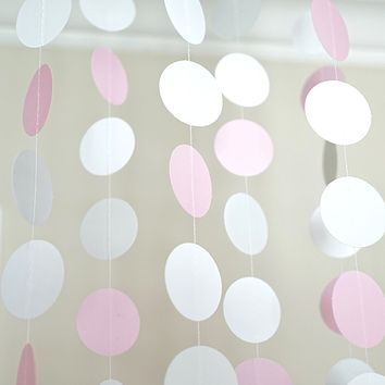 Pink White and Gray Glitter Circle Polka Dots Paper Garland 10 FT Banner Party Decor