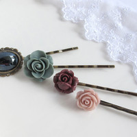 Autumn Fall Inspired. Grey, Cocoa Brown, Dusty lilac Rose flowers. Blue Glass on Cameo Setting. Hair accessories Hair pin