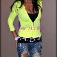 SEXY SPORT NEON LEMON YELLOW STRETCH SUMMER HOODIE JACKET ZIPPER TOP ONE SIZE