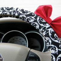 The Original Damask Steering Wheel Cover with Matching Bright Red Bow