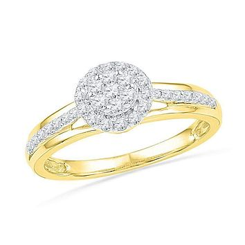10kt Yellow Gold Women's Round Diamond Flower Cluster Ring 1/3 Cttw - FREE Shipping (US/CAN)