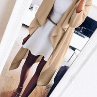 Apricot Draped Open-Front Duster Coat