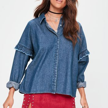 Missguided - Blue Frill Detail Denim Shirt