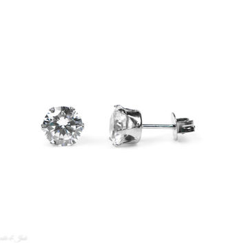 7mm Round CZ Stainless Steel Stud Earrings