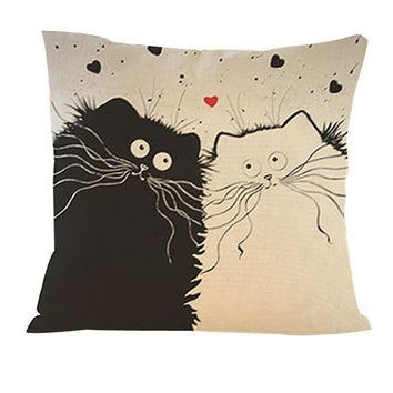 Home Decorative Animal Style Super Soft Cashmere Cushion bed sofa Cute Cat Cushion Persian cat Printed Throw Pillow