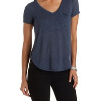 V-Neck Boyfriend Pocket Tee by Charlotte Russe