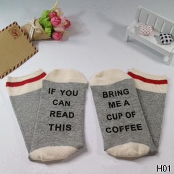 New 1 pair wine socks If You can read this Bring Me a Glass of Wine /Coffee Socks Print Funny Women Autumn spring Socks 4 colors