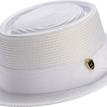 Braided Solid Color Pork Pie Hat H50 By Montique