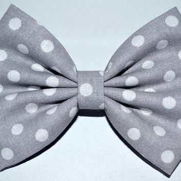 Grey and White Large Dot Hair Bow