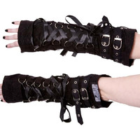 Goth Rockabilly Lady Black Lace Up Buckles Orchid Armwarmers