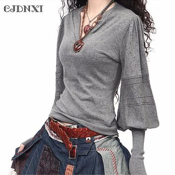 Spring Women Cashmere Sweaters and Pullovers Casual Oversized Wool Sweater Winter Lantern Sleeve Pull Femme Gray Knitted Jumpers